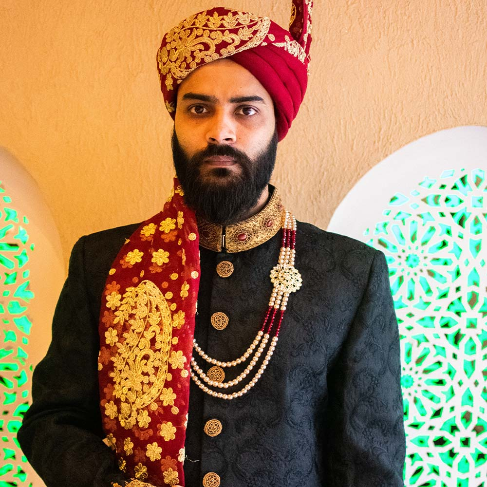 Black Jamawar Traditional Sherwani