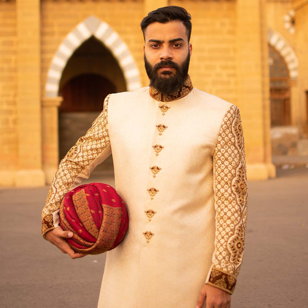 Jamawar Creamy Heavy Embroided Sherwani