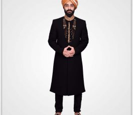 Jamawar Intrinsic black sherwani