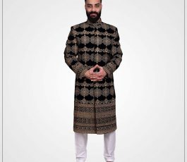 Printed Embroided Black Western Sherwani