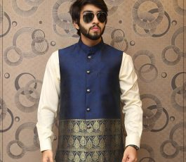 Blue Embroided Waist Coat